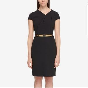 Black cap-sleeve dress with removable belt